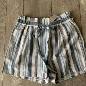High Waisted  Striped Sash Tie Utility Shorts
